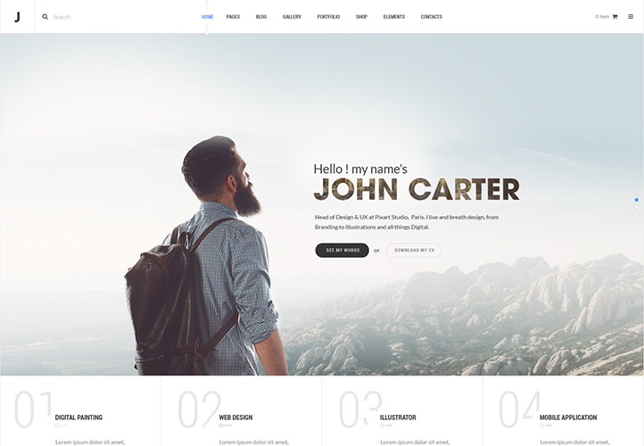 thej wordpress portfolio theme